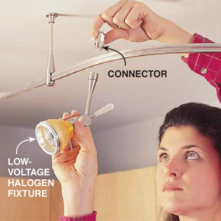 <b>Photo 12: Attach the fixtures</b></br> Attach the fixtures to the track by sliding the U-shaped connector over the track and screwing the light fixture to it.