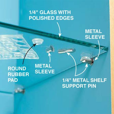 <b>Photo 19: Install shelf supports</b></br> Support glass shelves with metal shelf pins inserted into holes drilled in the cabinet sides. To prevent the pins from enlarging the holes, drill 9/32-in. holes and tap in metal sleeves. Then insert the metal shelf support pins in the sleeves and apply a self-adhesive round rubber pad to each pin to keep the glass shelves from sliding off.
