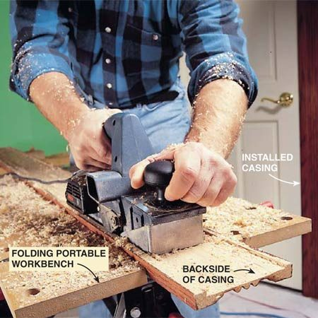 "<b>Photo 4: Remove the wood from the back of door casings</b></br> Hollow out the back of door casings so they'll fit flat against both the wall and the door jamb. Drywall that protrudes from the edge of a jamb can cause casings to ""tip."" The hollowed-out casing will step over this edge. Control the depth of your cut to avoid a too-thin casing face that will crack during nailing."