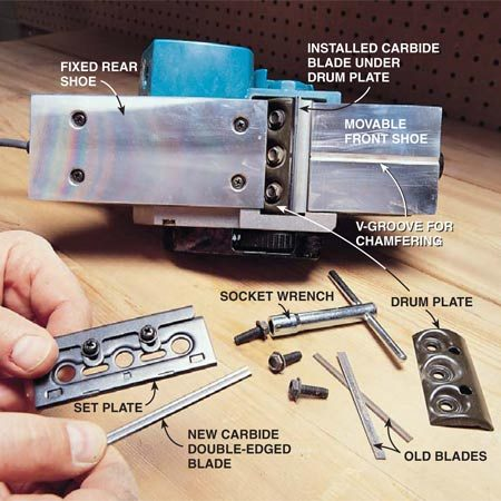 <b>Photo 6: How to change blades</b><br/>Change blades when they become dull or nicked. As blades dull, they smoke up the room, the planer becomes difficult to push, and wood debris comes out as sawdust instead of shavings. Nicked blades leave a groove in the smoothed wood. Unplug the power planer and read your tool&#39;s instructions carefully. Avoid tool vibration by installing the blades squarely in the set plate and bolting the drum plate tightly on the cutter head.