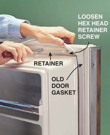 <b>Photo 1: Take off the old gasket</b></br> Remove the old refrigerator door gasket by grabbing the <em>inside</em> flange of the gasket and pulling it back to reveal the metal gasket retainer. Using a properly sized hex head nut driver, loosen—but don't remove—the retainer screws around the perimeter of the door and pull the old gasket off.