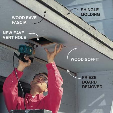 <b>Photo 1: Prep the soffit</b></br> Remove existing shingle molding and frieze boards and replace any rotten fascia. Cut in additional soffit venting where necessary and remove existing soffit grilles to improve airflow.