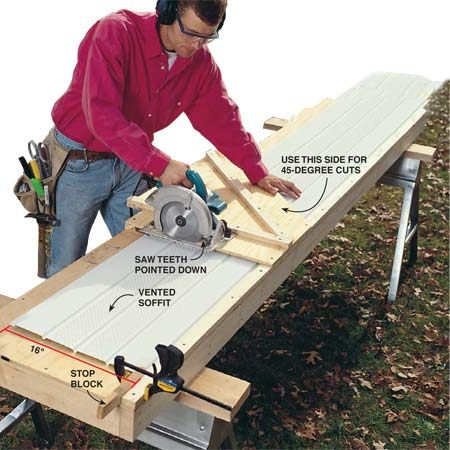 <b>Photo 3: Measure and cut soffit panels</b></br> Measure the distance from the inside of the J-channel to the outside of the wooden soffit at several locations to make sure the soffit depth is consistent. Cut soffit panels 1/4 in. shorter than the measurement. If there are variations in depth, adjust cut lengths accordingly.