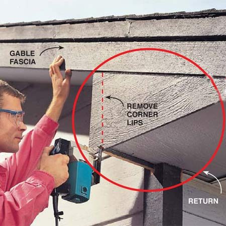 "<b>Photo 7: Create a flat fascia surface</b></br> Saw off projecting trim on corners of boxed returns for smooth, well-supported aluminum corners. ""Fur out"" the ends of returns to make them flush with the existing fascia for a flat surface all the way up to the shingles (see Photo 9)."