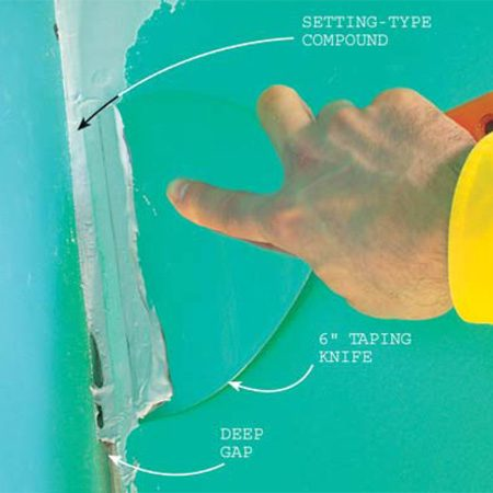 <b>Photo 6: Fill deep gaps at drywall</b></br> Setting compound, unlike  regular compound, hardens rapidly and doesn't shrink. You can begin your taping  as soon as it hardens. You buy it powdered and mix it with water. It's  available with a 20-, 45- or 90-minute hardening time from most stores that  sell drywall materials. Be sure to buy the sandable variety.  Avoid the 20-minute stuff; it'll harden in  your pan.