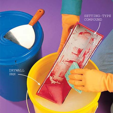 <b>Photo 10:  Clean your drywall mud pan and knife thoroughly</b></br> Start cleanup before the  setting-type compound begins to harden. Leftover compound will catalyze and  harden the next batch rapidly, before you can spread it. Heat also accelerates  hardening, so on warm days mix the compound with cool water. Dump the leftover  mud in a bucket, not down the sink, where it can harden and clog the drain.