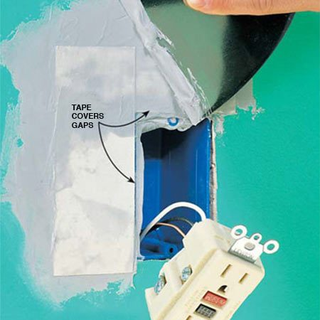 <b>Photo 15: Tape over large gaps</b></br> Use tape if the gap will  show beyond the edge of the cover plate. Fill the gaps first with setting  compound (Photo 7). If the gap isn't taped, the compound filler will slowly  crumble.