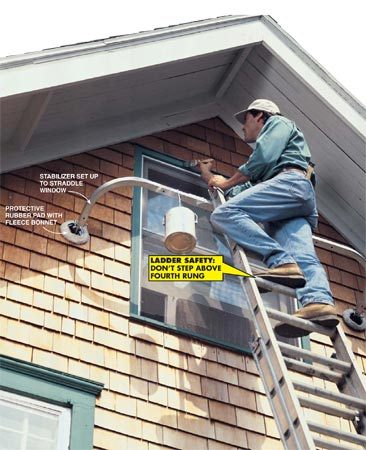 <b>Photo 1: High windows</b></br> Working around high windows is easier with a stabilizer set up in a wide stance. Something as light as a gallon of paint can safely hang from the stabilizer's arms, but otherwise avoid placing weight on them.