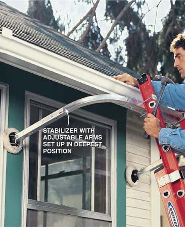 <b>Photo 3: Hanging gutters</b></br> Use a stabilizer to stand a ladder away from a deep soffit—providing a gap to lay a gutter section in—and making working alone easier. Some adjustable stabilizers, capable of multiple configurations, can be set up to work in front of soffits as deep as 24 in.