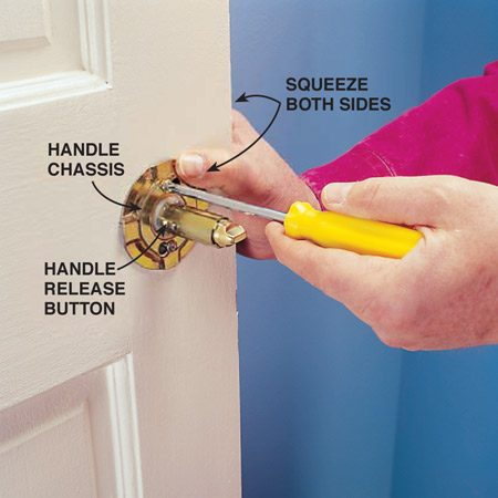 <b>Photo 2: Tighten the screws</b></br> Tighten the door hardware by opening the door, squeezing both sides of the assembly together and tightening the two screws on the chassis. To reassemble, snap the rose back on the chassis, depress the release button and slide the knob back on until the button pops through the hole.