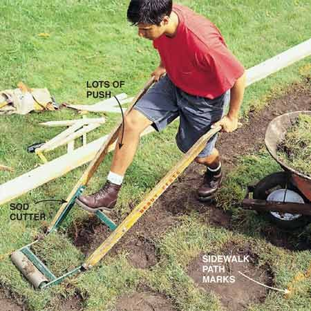 <b>Photo 2: Dig out the sidewalk path </b></br> <p>Slice off sod with a sod cutter (rents for $16 a day), then dig out the rest of the sidewalk path to a depth of 6 in. Dig out about 3 in. wider on both sides of the paint marks to leave room for forms. Set aside some topsoil to fill against the forms (see Photo 7) and sidewalk later.  </p>