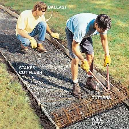 <b>Photo 8: Cut concrete mesh to fit </b></br> Cut off the stakes flush with the tops of the forms. Park a helper on the end of the reinforcing mesh for ballast and unroll the mesh, holding it down with your feet. Cut it to length with a pair of bolt cutters. Flip the mesh over and pull one end toward the other to back-bend it slightly to eliminate the natural curl. Cut the edges of the mesh at least 3 in. back from the forms.