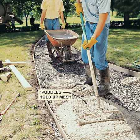 <b>Photo 10: Pour the concrete </b></br> Hold the mesh 2 in. above the gravel with small globs of concrete while pouring the sidewalk. Pour a few feet of concrete, heaping it slightly higher than the forms. Don't shovel concrete; pull it back or push it forward with a steel rake.