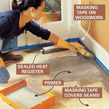 <b>Photo 2: Clean and prime the subfloor</b></br> Prepare the area for the self-leveling mortar bed. Protect woodwork with masking tape. Cover heat ducts with blocks of rigid foam and seal around them with duct tape. Cover the seams between sheets of plywood with masking tape. Plug all holes with tape or expanding spray foam. Prime the floor according to the instructions on the bag containing the self-leveling mortar.