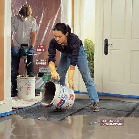 <b>Photo 4: Pour leveling underlayment</b></br> Pour the self-leveling mortar underlayment around the perimeter. Then quickly fill in the center, working toward your mixing area. Have a helper continue the mixing process. Use a trowel to help the mortar into corners and around obstacles. Work quickly. Reach out and spread the mortar with a trowel as you work your way out of the room. Then leave it alone as it levels out and hardens.