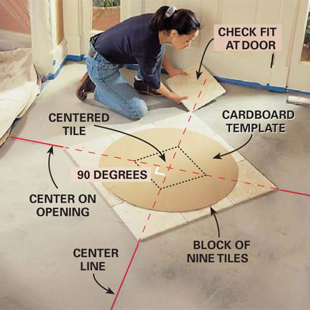<b>Photo 6: Center the medallion </b></br> Snap a chalk line down the center of your room, parallel with the most visible wall. Use a framing square to make a line perpendicular to the first line, centered on your proposed medallion location. Center a block of floor tile on the lines and set the template over them to see how the cut tiles around the medallion will look, and how the medallion looks in the room. Now extend tiles to the edges of the room to see what size the border cuts will be. Adjust the location of the medallion if necessary to improve the look of the border tile.