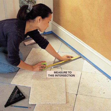 <b>Photo 8: Position the tile and mark cuts</b></br> Measure for the cuts on the border tiles. Align full tiles with the grid marks, and measure from these to the wall, allowing space for grout.