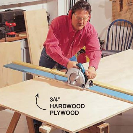 <b>Photo 1: Cut the pieces</b></br> Cut all the pieces to size from two sheets of 3/4-in. birch plywood. Use a 40-tooth carbide blade or a 150- tooth plywood blade for a smooth cut. A straightedge cutting guide clamped to the plywood will give you factory-straight cuts.