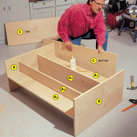 <b>Photo 2: Assemble the pieces</b></br> Glue and nail the anti-rack shelf supports (A1, A3) to the sides (B) first, then align, glue and nail the top and bottom pieces to the sides.