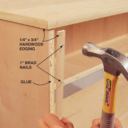 <b>Photo 4: Nail the edging</b></br> Flip the bench onto the casters and begin gluing and nailing the 3/4-in. by 1/4- in. hardwood edging to the exposed plywood edges.