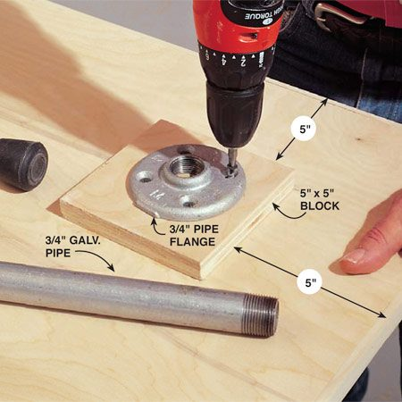 <b>Photo 5: Attach the pipe flanges</b></br> Screw the 3/4-in. pipe flanges onto 5-in. square reinforcing blocks cut from scrap plywood. Glue and screw the blocks to the underside of the front panels as shown in Fig. A.
