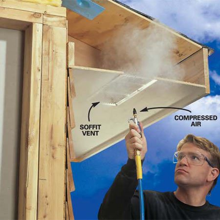 <b>Photo 3: Clean vents</b></br> Clear your soffit vents every few years with blasts of compressed air. Always do this after you install air chutes because you'll probably knock insulation down into the soffit.