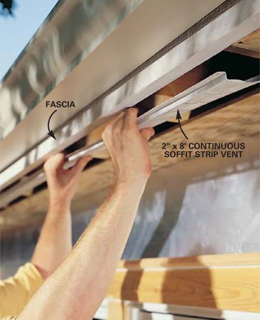 <b>Photo 7: For more airflow, install continuous vents</b></br> Install a 2-in. continuous strip soffit vent so that it's closer to the fascia than to the house wall. Loosely nail one side of the soffit, then slide the strip vent's flange underneath the plywood.
