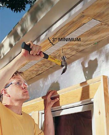 <b>Photo 8: Nail the plywood strips</b></br> Finish nailing up the strips. The narrowest soffit plywood strip should be at least 3 in. wide.