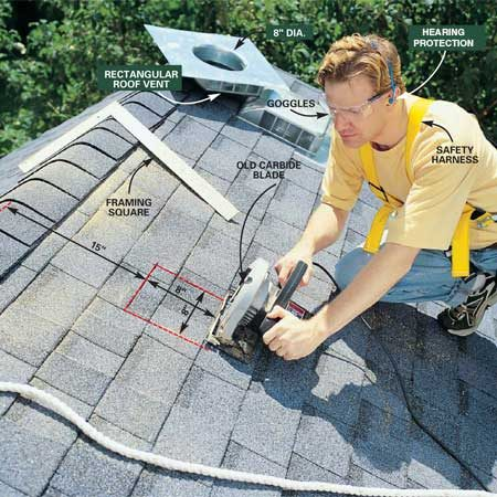 <b>Photo 9: Cut a hole in the roof</b></br> Cut a square hole in the roof the same size as the hole in the base of the vent you're installing. Locate the top of the hole about 15 in. below the peak of the roof. Mark the hole with chalk and set your saw depth to cut through the shingles and the roof sheathing only. Don't cut into any rafters. For a roof with a single layer of shingles, start with a depth of 3/4 in. Use an old carbide blade for cutting, and wear safety goggles and hearing protection because you WILL hit nails.