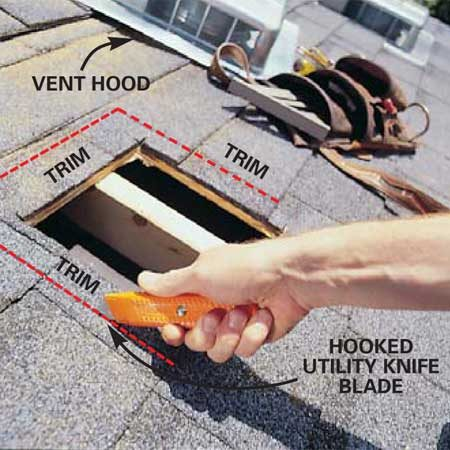 <b>Photo 10: Trim the shingles</b></br> Measure the vent hood size and trim the topmost shingles with a hooked knife blade so they will butt against the vent hood on the top and the sides. You'll have to trim two or three rows of shingles (see Photo 12).