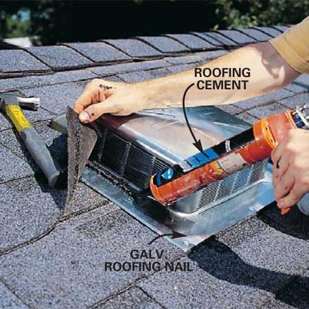 <b>Photo 13: Nail the vent down</b></br> Nail the flange to the roof on the front edge. Finish sealing the vent by applying cement to the areas where the shingles overlap one another and where they overlap the flange.