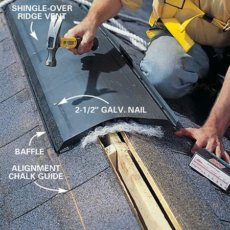 <b>Photo 16: Nail the vent down</b></br> To install the ridge vent, first pop a chalk line down from your ridge line that's equal to half the width of the ridge vent. Then align the ridge vent pieces. Nail one side of the vent in place with 2-1/2 in. galvanized nails. To keep the line straight, finish nailing the side you aligned with your chalk line before nailing the other side.