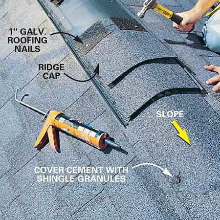 <b>Photo 17: Shingle over the vent</b></br> Cover the vent with ridge cap shingles using 1-in. galvanized roofing nails. The vent will have a nail line marked on it. You can buy special ridge cap shingles for laminated shingles like we show here, or cut your own ridge cap from three-tab shingles (the shingle packaging will have directions). If you have to stop the ridge vent short of the end of the ridge, install the remaining ridge cap so that it slopes away from the vent.