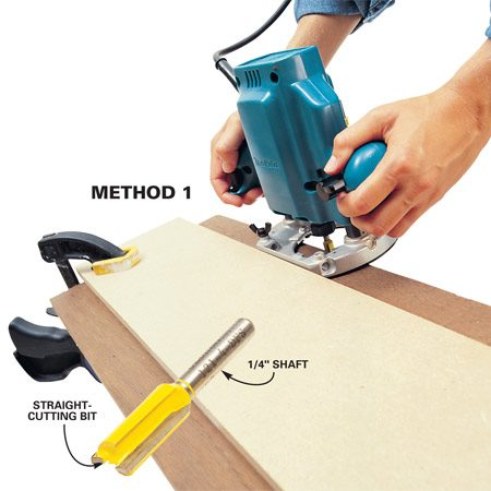 "<b>Method 1: Straightedge guide</b></br> If you have a router with a 1/4-in. collet, buy a carbide straight-cutting bit with a 1 to 1-1/4-in. cutting length (sold at home centers and woodworking stores). Place your straightedge on top of the board you're jointing. Set the straightedge guide back on the board so you remove only 1/16 in. of stock at a time. This technique is easier if your router has a base with a straight edge, but it also works with a round base. This ""straight edge on top"" method works best for 1/4-in. shank router bits because it puts most of the force on the router base instead of the bit's shank."