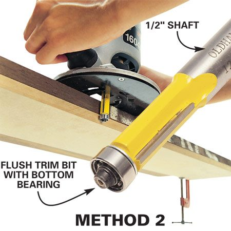 "<b>Method 2: Flush trim bit with bearing</b></br> If you have a router with a 1/2-in. collet, go with the ""straight edge on bottom"" method by using a 1 to 1-1/2-in. carbide flush trim bit with bottom bearing (sold at woodworking stores). This technique puts the force on the bit's shank, but that's OK with these heavier bits. Just tightly clamp your straightedge on the bottom of the stock and set it about 1/16 in. back from the stock's edge. The only measuring you need to do is to make sure your board winds up with the same width on both ends."
