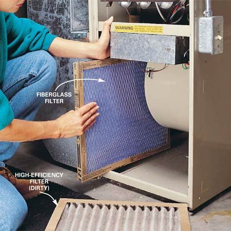 <b>Photo 6: Change the furnace filter</b></br> <p>Change  the furnace filter every one to three months. A cheap fiberglass filter will  adequately protect the blower and blower motor. If you want to install a more  expensive, high-efficiency filter, check the owner's manual for the  manufacturer recommendations. High-efficiency filters can restrict the airflow,  strain the blower motor and make your furnace less efficient. If you want  cleaner air, the best option is a separate air-cleaning system. </p>