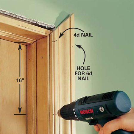 <b>Photo 5: Predrill and tack</b></br> Hold the side casing in place. Predrill nail holes every 12 to 16 in., using a drill bit about 1/32 in. smaller than the nail size. Stay 1 in. away from the ends to avoid splitting. Drive 4d finishing nails into the jamb and 6d finishing nails into the wall.
