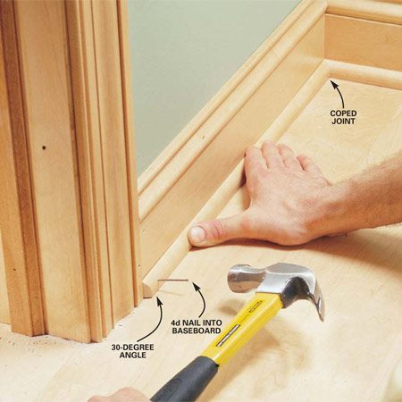 <b>Photo 21: Add the base shoe</b></br> Install the base shoe the same as the base cap, coping inside corners and mitering outside corners. Where the shoe meets the door casing, cut at a 30-degree angle the portion that sticks out. Predrill and nail the base shoe to the baseboard with 4d finishing nails.