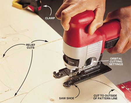 <b>Photo 1: Keep the saw shoe on the workpiece</b></br> Cut smooth curves in wood. Begin by pressing the saw shoe firmly on the workpiece with the blade away from the  edge. Start the motor, guide the blade along the outside of the cutting line (for finer sanding later) and move from curves to inside corners. Always move the saw forward at a pace that allows the blade to cut without deflecting and doesn't make the motor labor. Prevent the saw blade from binding on tight curves by using relief cuts to remove waste.