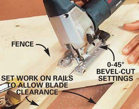 <b>Photo 2: Use a fence for perfectly straight cuts.</b></br> A jigsaw is versatile enough to make straight, compound and beveled cuts through boards. Hold the workpiece firmly and guide the saw steadily against a saw fence. Avoid driving blades into the bench top (bending and breaking them) by using rails to raise the workpiece.