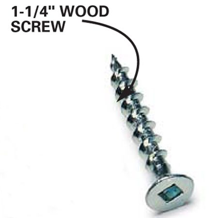 <b>Close-up: 1-1/4-in. wood screw </b></br> Use screws in locations where extra reinforcement is needed or if you don't have access to screw and sleeve fasteners.