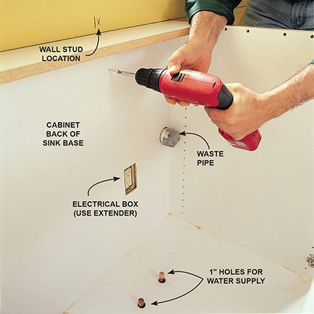<b>Photo 7: Fasten the cabinets to the wall </b></br> Screw the cabinet to the wall with pan-head cabinet screws (provided with the cabinets). Make sure the holes in the cabinet align with the predrilled holes for the plumbing and electrical. If the holes bind against the plumbing, widen them.