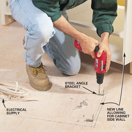 <b>Photo 16: Fasten the island cabinets to the floor </b></br> Set the island cabinets in place and trace around the outside of the cabinets with a pencil. Draw a second set of lines inside to indicate the thickness of the cabinet side walls. Screw angle brackets to the floor along these lines. Drill a hole for your electrical supply through the base of the cabinet, align and shim the cabinets level, and screw the cabinet side walls to the bracket from below.