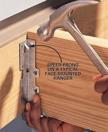 <b>Photo 2: Set the hanger</b></br> Squeeze the joist hanger tightly around the joist and drive the speed prongs into the ledger board to temporarily hold the joist in place. Make sure the joist is sitting squarely in the joist hanger without gaps alongside and under the joist.
