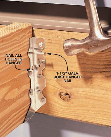 <b>Photo 5: Nail to the joist—standard hanger</b></br> For <strong>standard joist hangers</strong>, secure the hanger to the joist using only 1-1/2 in. long galvanized joist hanger nails. Avoid longer nails that would poke through the joist and splay out the other side of the hanger. (To hammer inside tight joist spaces, use either short tapping strokes or hold the hammer sideways and strike the nail with the side of the hammer.)