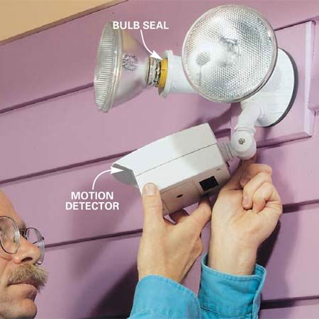 <b>Photo 5: Aim the sensor</b></br> Aim the motion detector at the field of view you want  covered. (Later, you can aim the detector lower to reduce the field of view if  nuisance trips are a problem.) Point the light bulbs to the area you want lit.  Keep the bulbs as far away from the detector as possible.