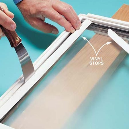 <b>Photo 1: Remove the stops</b></br> Pry out the stops with a thin pry bar or thin-blade putty knife. Usually you'll need to begin at the top, then do the sides and finally the bottom.