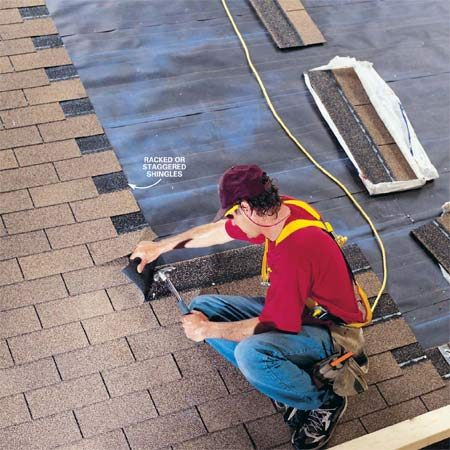 "<b>Racking shingles</b></br> ""Racking"" shingles means installing them straight up the roof in a column."