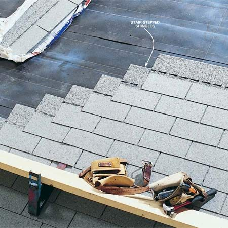 <b>Stair-stepping shingles</b><br/>Stair-stepping shingles means installing them in a stair pattern.