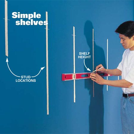 <b>Photo1: Mark the shelf position</b></br> Trace the horizontal location for each shelf using a 4-ft. level as your guide. Use a stud finder to mark the locations of the studs and lightly press masking tape over each one. If you don't have a string line, use a long straightedge and mark the wall with a pencil. Check your marks with the 4-ft. level.